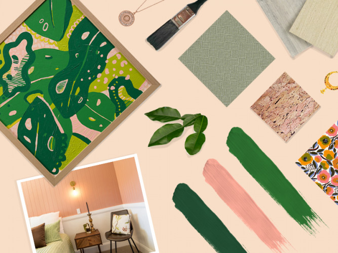 colour palette, creating a colour palette, colour palette inspiration, pink and green decorating, Resene