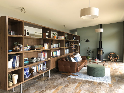 Retro Home, Green Interiors, Bookshelf Wall, Smoky Green