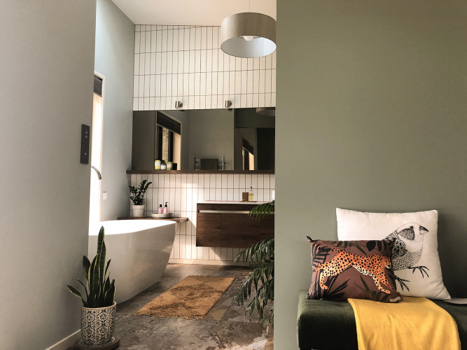 Retro Bathroom, Green Bathroom, Subway Tiles, Feature Wall