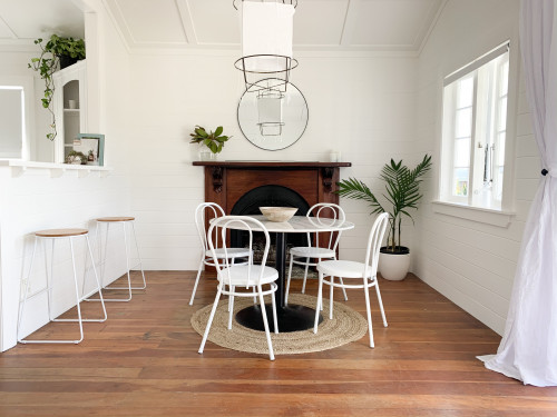 dining room inspiration, white dining room, white walls, white and timber, wooden floors, Resene