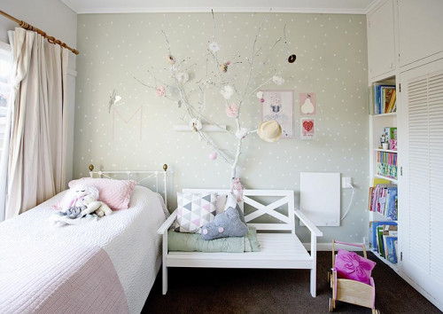 soft green kids bedroom