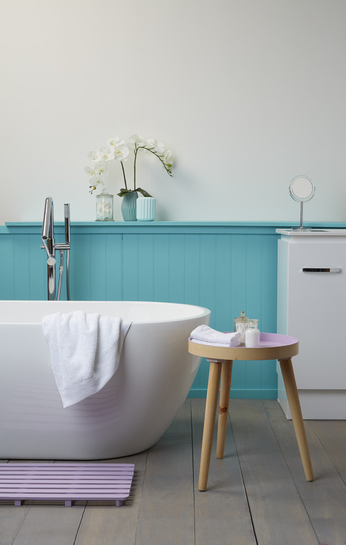 Turquoise Bathroom, Tongue and Groove, Blue and White Bathroom