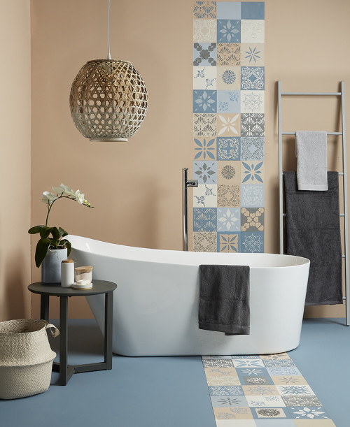 Two-toned Bathroom, Orange and Blue, Stencilled Floors, Blue Bathroom