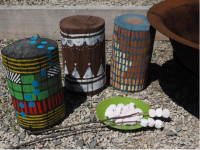 Create a colourful outdoor stool from a wooden post