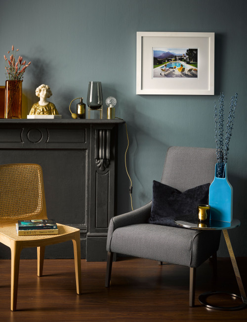 Resene Blue Bayoux wall grey fireplace