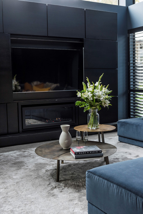 Blue Interiors, Blue Fireplace, Blue Entertainment Area, Navy Interiors