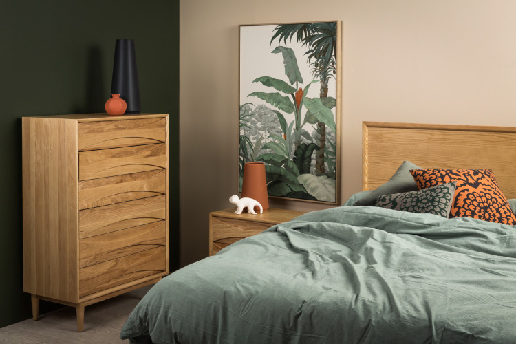 jungle themed room, wooden furniture, green wall, tropical room, Resene