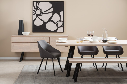 modern dining, nood, contemporary dining, black and white dining, resene biscotti